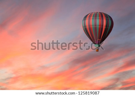 Stripped Hot Air Balloon in Pink Sky