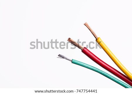 stripped wires on white background #747754441