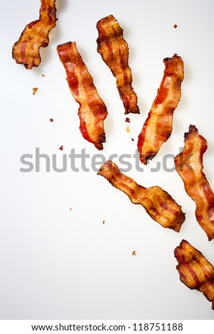 Strips of Bacon Displayed - stock photo