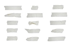 Strips of clear masking tape. Set of various adhesive tape pieces on white background. Paper tape texture. Wrinkled sellotape.  Isolated clear  transparent sellotape.  Ripped duck  strip.