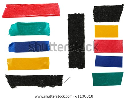 Strips of colourful insulating tape