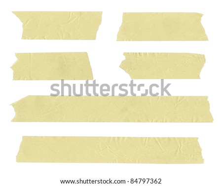 Strips of masking tape. Isolated on white.