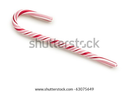 stripy candy cane on white background