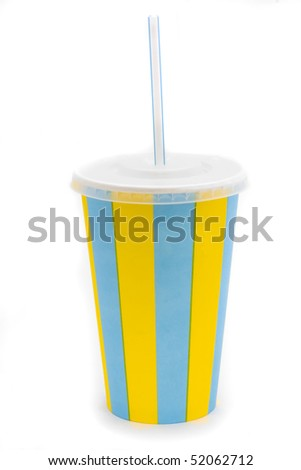 stripy drinks cup with straw on a white background