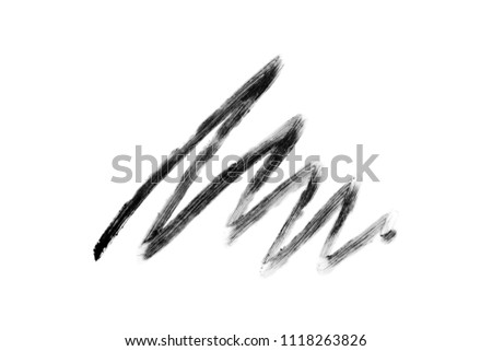 Stroke of black eye pencil isolated on white background. Zigzag strip #1118263826