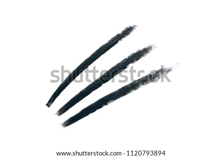 Stroke of black eye pencil isolated on white background. Zigzag strip #1120793894
