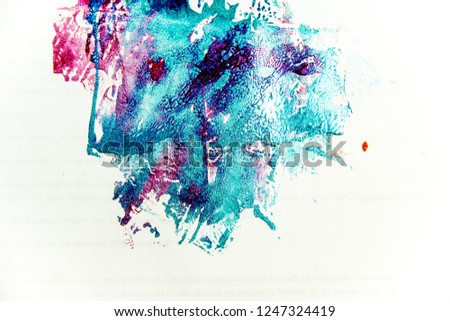 strokes and blots of paint on white background #1247324419