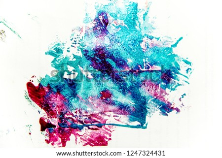 strokes and blots of paint on white background #1247324431