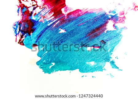 strokes and blots of paint on white background #1247324440