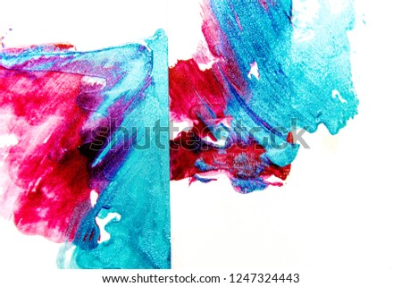 strokes and blots of paint on white background #1247324443
