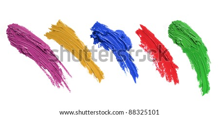 strokes of paint brush isolated on white background. each one shoot separately