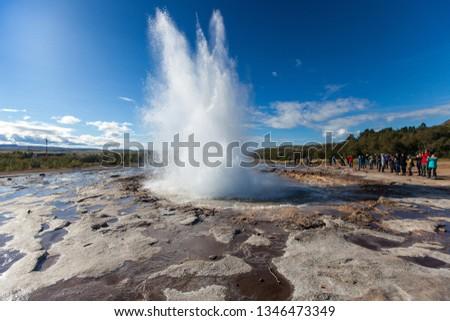 Strokkur Geyser eruption. Eruption of hot water. Gold Circle. Iceland.