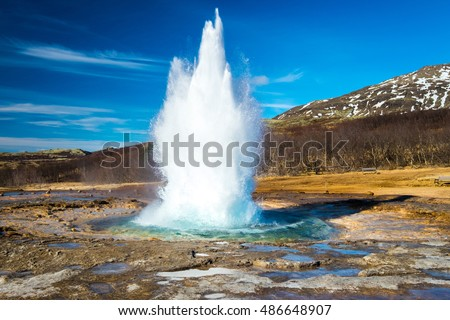 Strokkur geysir eruption, Golden Circle, Iceland