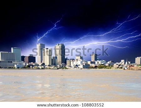 Strom approaching New Orleans Buildings in Louisiana, U.S.A.
