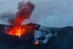 Stromboli Volcano eruption on the small island near Sicily in the Tyrrhenian Sea, Italy