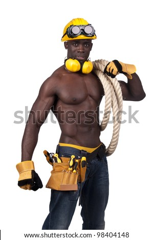 Strong build black construction worker with a rope isolated in white