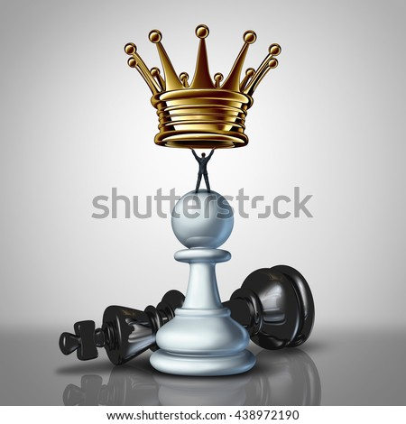 Strong Business leadership strategy concept as a take charge businessman standing on a chess pawn lifting a crown as an icon of a leader with strategiuc determination with 3D illustration elements.