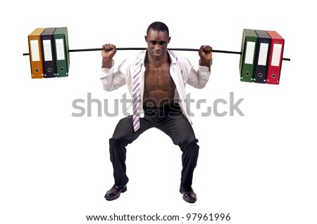Strong businessman  lifting weights made of heavy files
