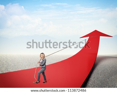 strong businesswoman pull 3d red arrow