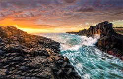 Strong current, freezing water at sunset sea at dawn. Sea strong current sunrise landscape. Sunrise seascape horizon landscape. Seascape at dawn