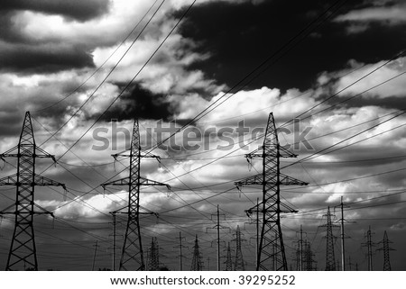 Strong energy. Dark style photo of high voltage electric line