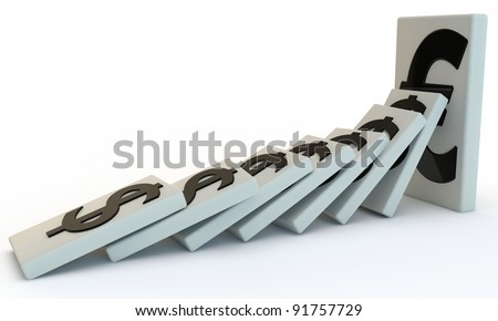 Strong  Euro domino with falling dollar, 3D render isolated on white