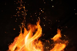 strong fire flames on black isolated background