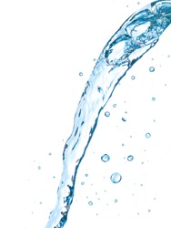 strong flow of water on an isolated white background