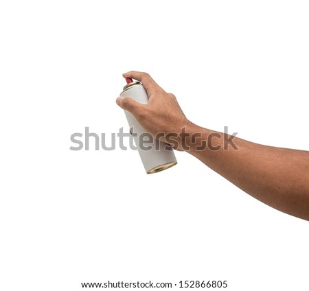 strong hand with white spray can