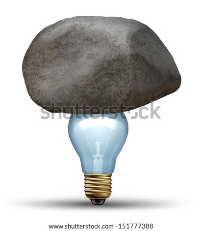Strong idea concept as a creative strength symbol of determination with a large rock or boulder on top of a light bulb as a strong innovative business solution overcoming challenges and adversity.