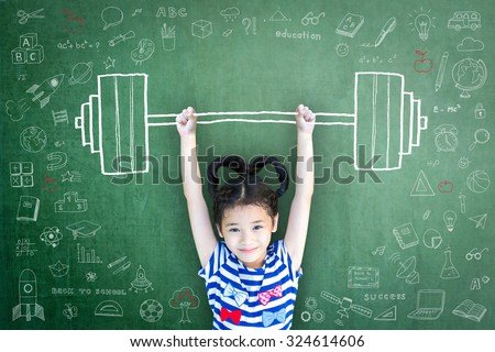 Strong kid with weight lifting doodle on chalkboard for equal opportunity awareness on gender and children rights concept
