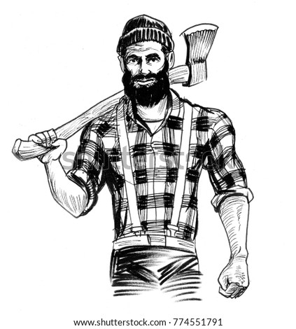 Strong lumberjack character holding an axe. Black and white ink illustration