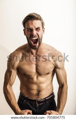 Strong man. Angry man #705804775