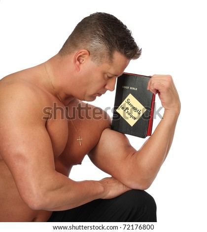 Strong Man Holding Holy Bible on Bicep
