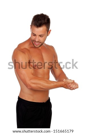 Strong man showing his muscles isolated on a white background