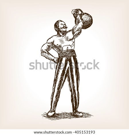 strong man with kettlebell...