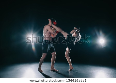 strong mma fighter kicking another sportsman in head during fight