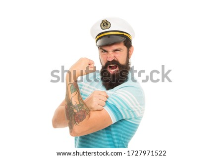 Strong muscles. Sailor spirit. Bearded sailor isolated on white. Sailor or seaman with long beard and mustache. Work as sailor. Professional mariner. Navy and marine. Sea adventures concept.