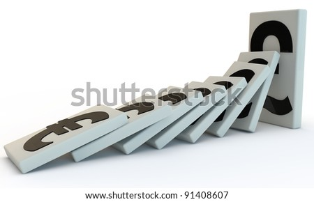 Strong Pound domino with falling euro, 3D render isolated on white