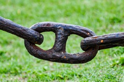 Strong rusted chain with grass behind