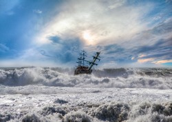Strong sea storm and the Sailing ship