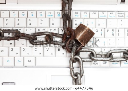 Strong Security Lock & Chain on PC keyboard