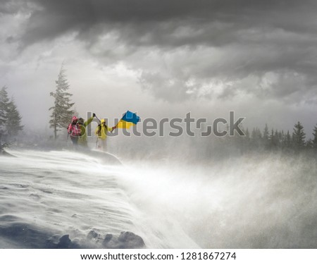 Strong snow blizzard blizzard in the Ukrainian Carpathians did not stop the brave conquerors of climbers of tourists of a high peak in the Gorgan Mountains Khomyak #1281867274