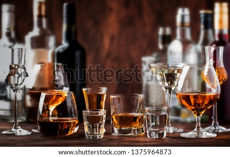Strong Spirits Set. Hard alcoholic drinks in glasses in assortment: vodka, cognac, tequila, brandy and whiskey, grappa, liqueur, vermouth, tincture, rum.  #1375964873