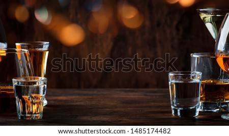 Strong Spirits Set. Hard alcoholic drinks in glasses in assortment: vodka, cognac, tequila, brandy and whiskey, grappa, liqueur, vermouth, tincture, rum.  #1485174482