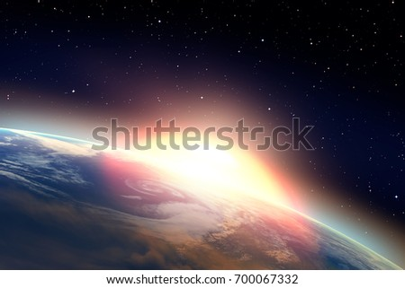 "Strong thermonuclear explosion on the earth ""Elements of this image furnished by NASA ""  #700067332"