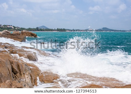 Strong wave attack the rocks in Samui island, Thailand