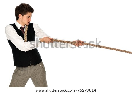 strong-willed man pulling of a rope and wins as a symbol of success