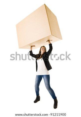 Strong Woman isolated on white background