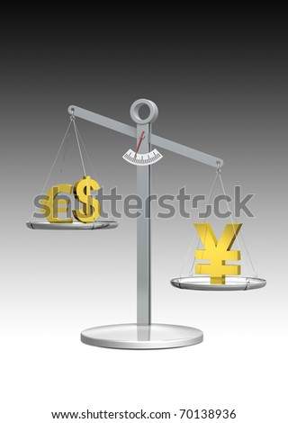 Strong Yen Scale rendering - stock photo